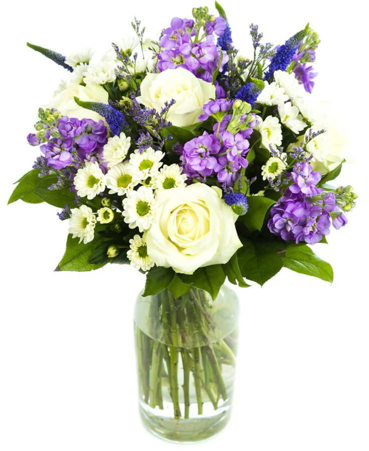 Cream and Purple Mixed Flower Bouquet