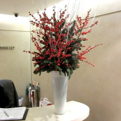 Christmas - Ilex berry vase Corporate Flower Display