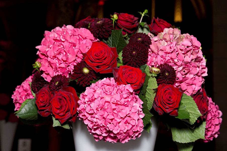 Red Roses and Pink Hydrangea Flower Arrangement - Flowers by post through our subscription flower service