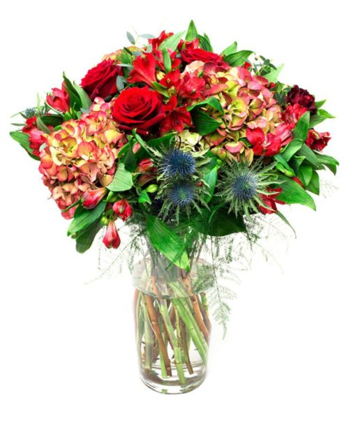 Special Occasion Flowers Delivered - Hydrangea, Red Rose, Thistle, Red Alstroemeria - Flowers for Him