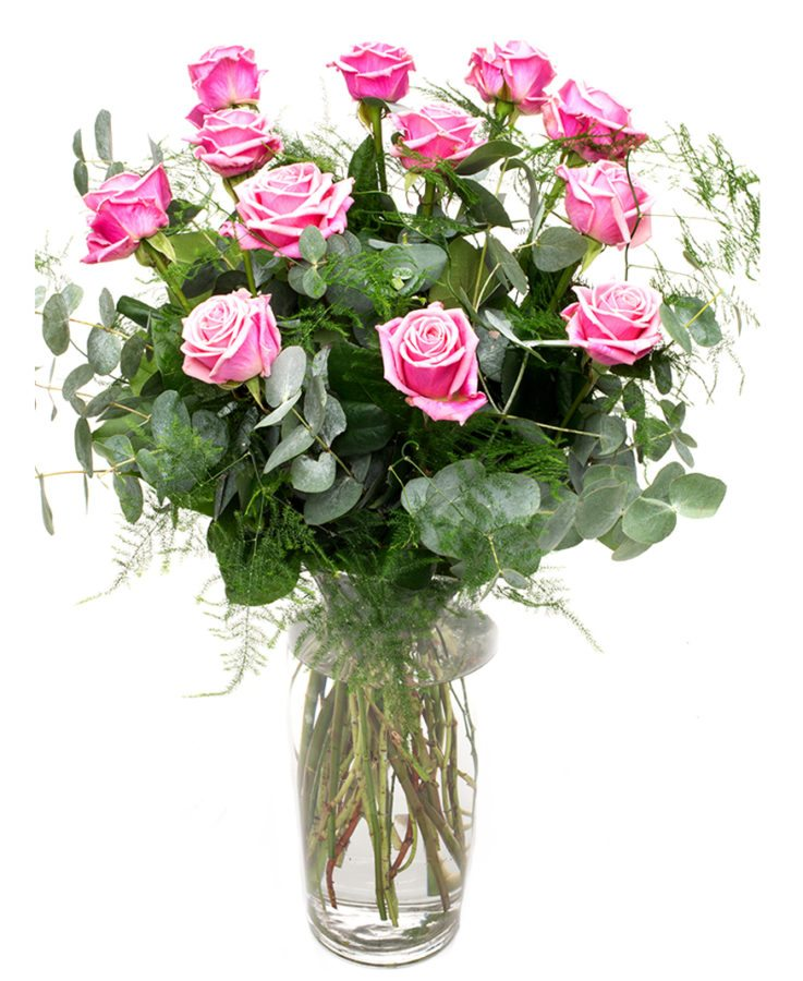 Roses & Foliage - Long Stemmed - Pink