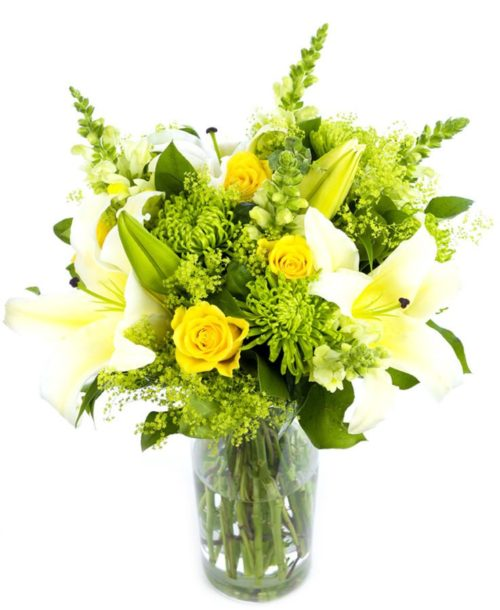 Mother's Day Arrangement Lime Greens Yellows Creams