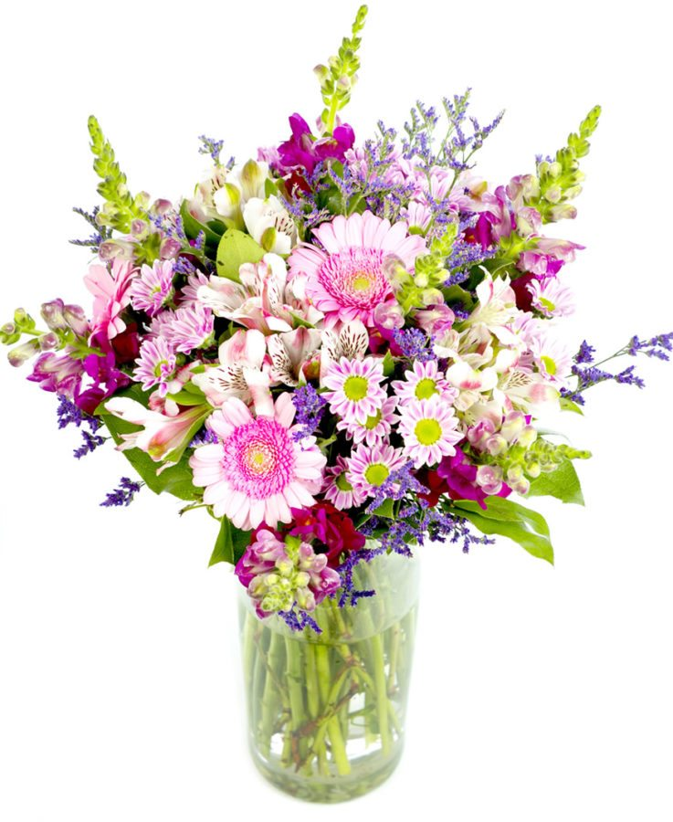 Alstroemeria, Antirrhinum, a pretty Chrysanthemum known as San Rossi Pink, Germini and finally finished with a dark blue / purple Limionium and foliages , Mothers Day Bouquet Creams Pinks Purples
