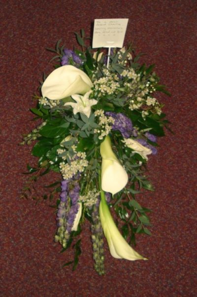 Calla Lily spray white and purple